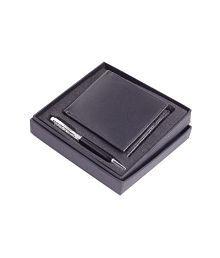 Keepsake Combo Of Black Crystal Pen With Black Wallet