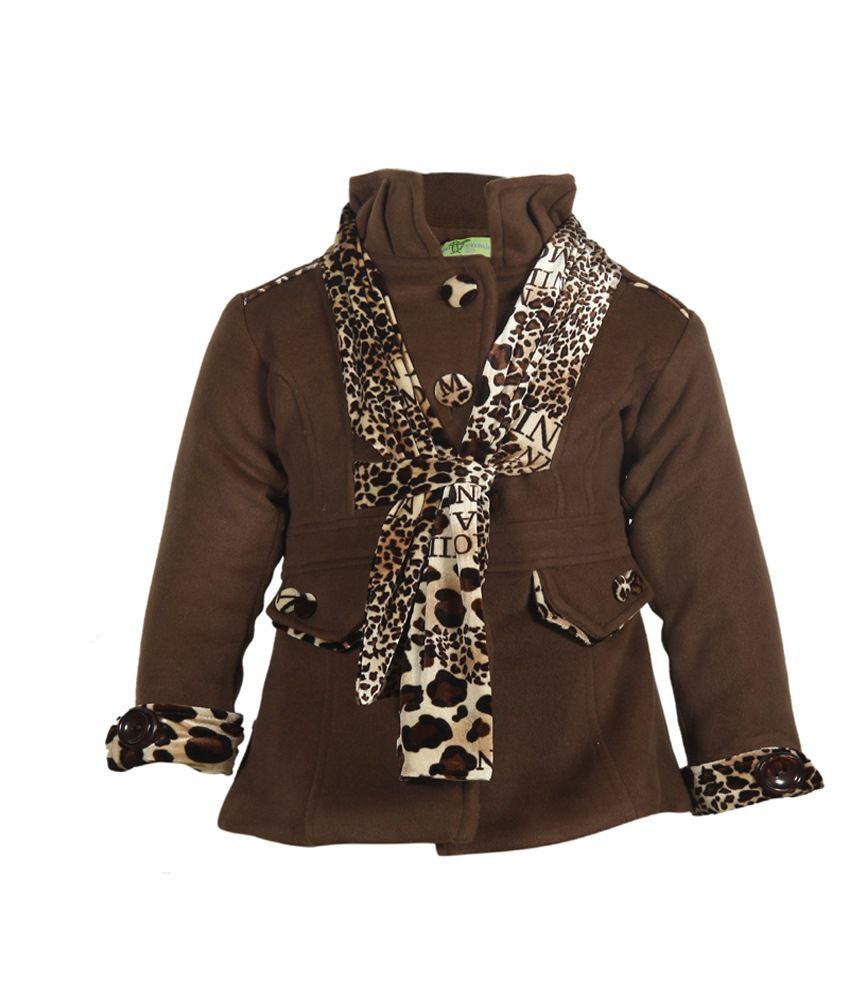 Cutecumber Brown Mesh Full Sleeve Coat For Girls