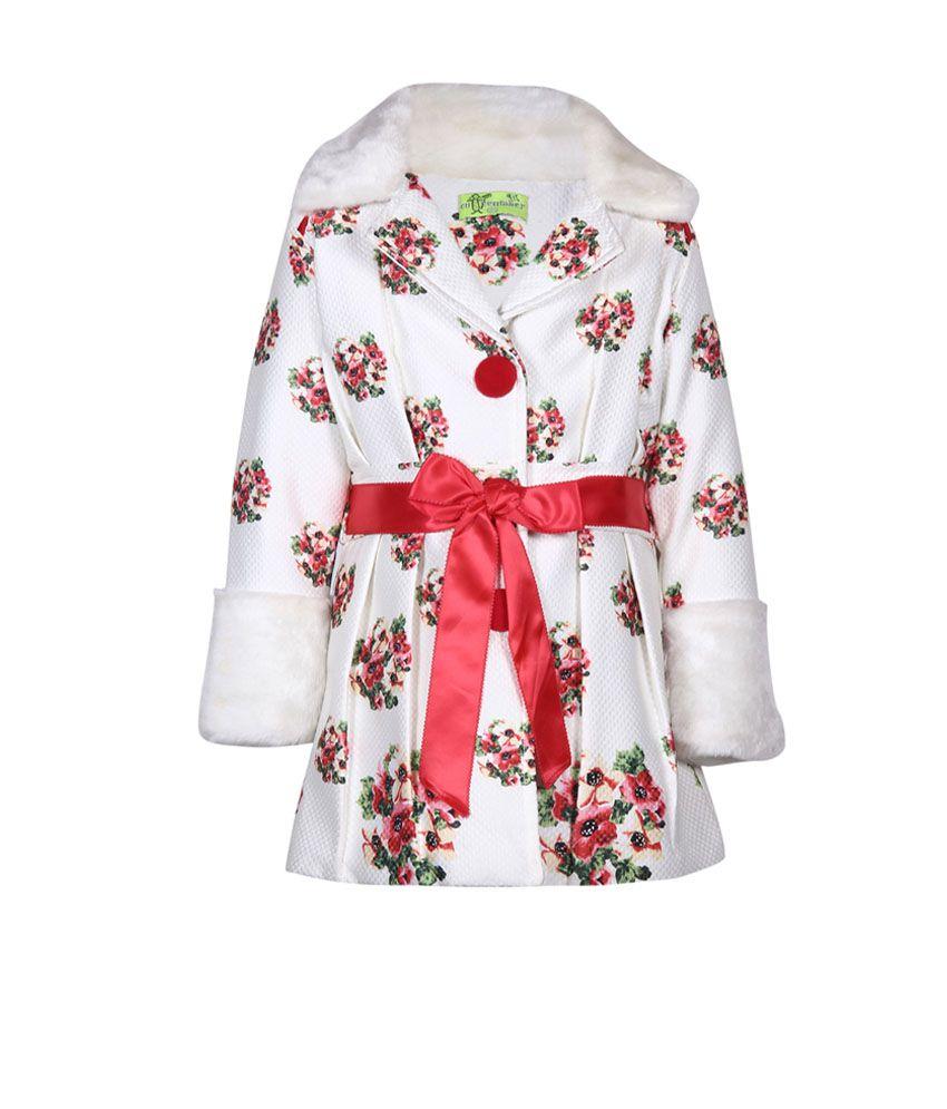Cutecumber Red Without Hood Girls Winter Embellished Jacket