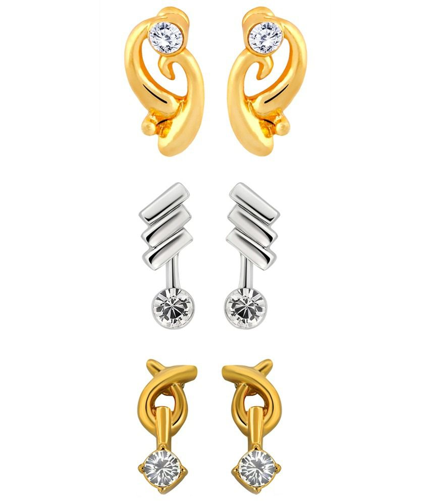 Mahi Combo of three pairs of Stud Earrings with Crystals for Women CO1104217M