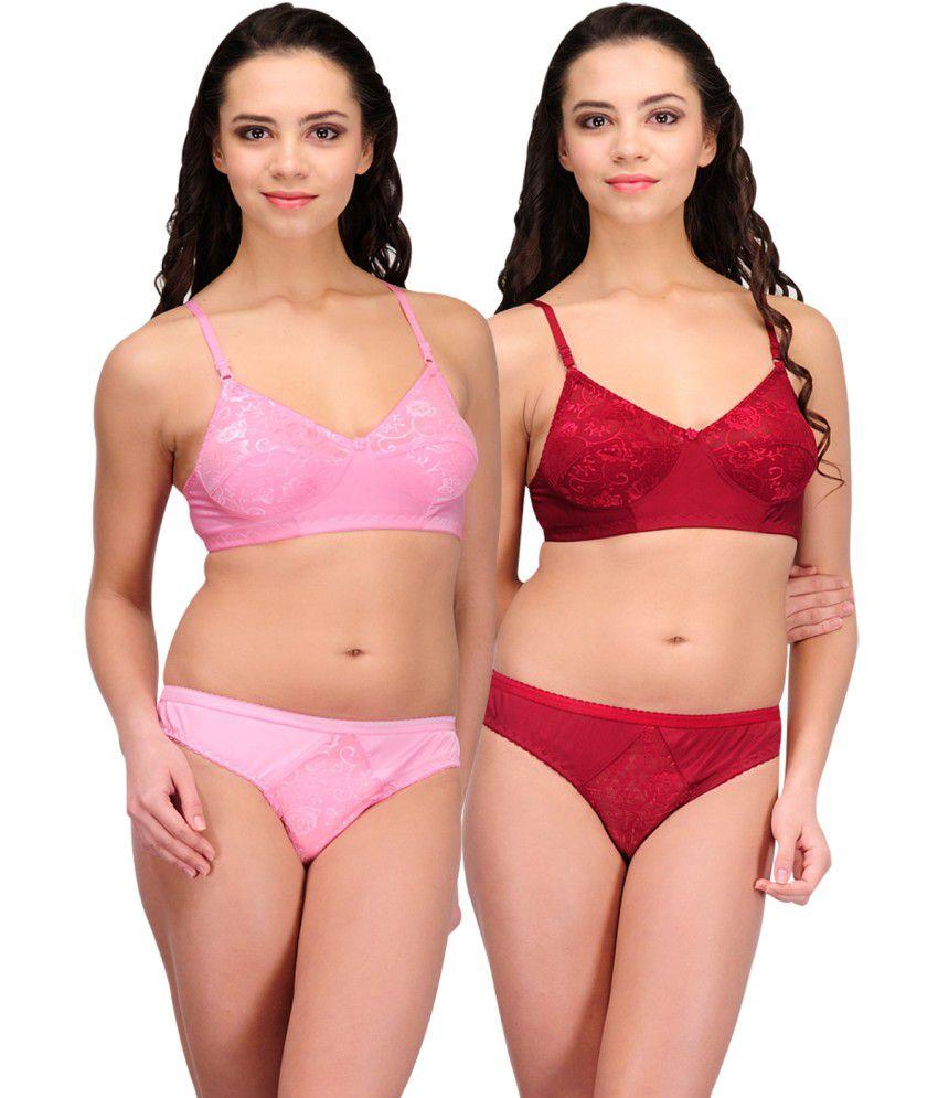 Urbaano Pink::maroon Lycra Set