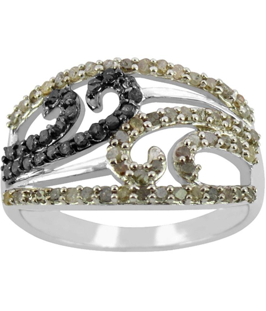 Arsh Crown Sky Dominion 0.39 Cwt 925 Sterling Silver Ring With Gemstones Black Diamond & White Diamond