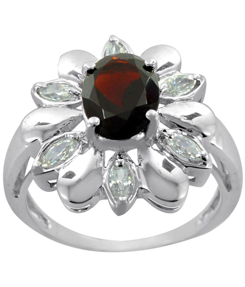 Arsh Crown Sky Dominion 3.70 Cwt 925 Sterling Silver Ring With Gemstones Garnet & Cubic Zirconia