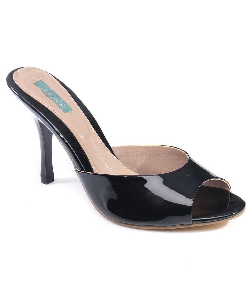 Catwalk Black Stiletto Heeled Slip-on