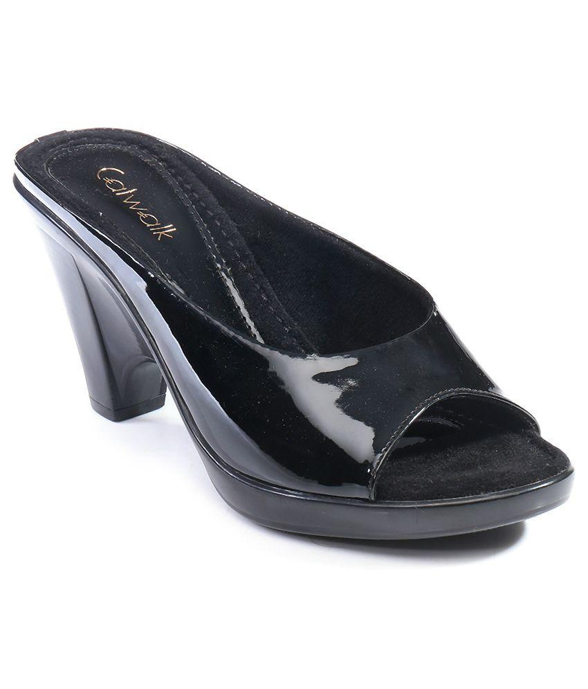 Catwalk Black Heeled Slip-On Sandals