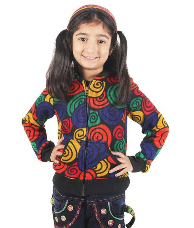 Purple Nasty By Ritu Wears Orange & Blue Woollen Sweatshirt For Girls