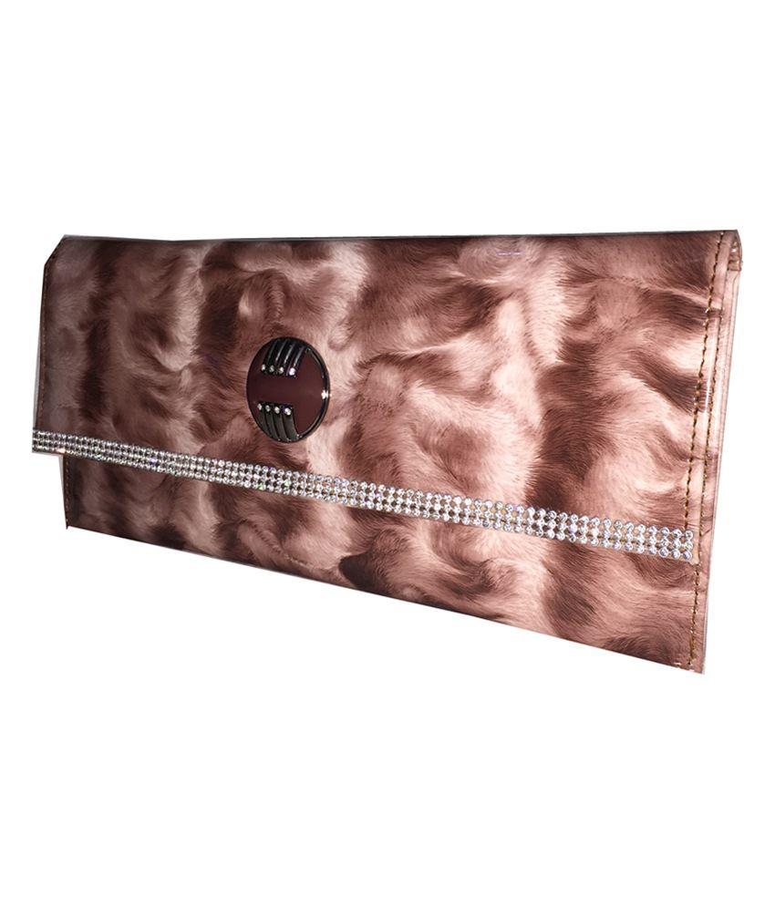 Apnav Maroon Fur-design Clutch With Sling Chain