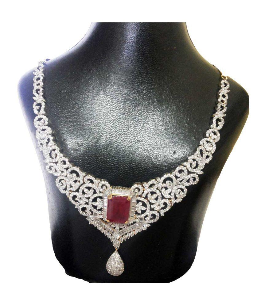 Nehal Arts Embellish American Diamond And Ruby Necklace Set