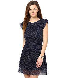 La Zoire Navy Poly Georgette Dresses