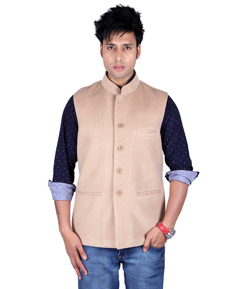 Aurah Beige Semi-formal Cotton Blend Waistcoats