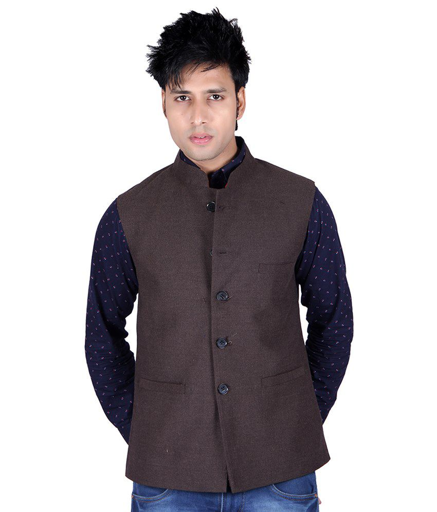 Aurah Brown Semi-formal Cotton Blend Waistcoats