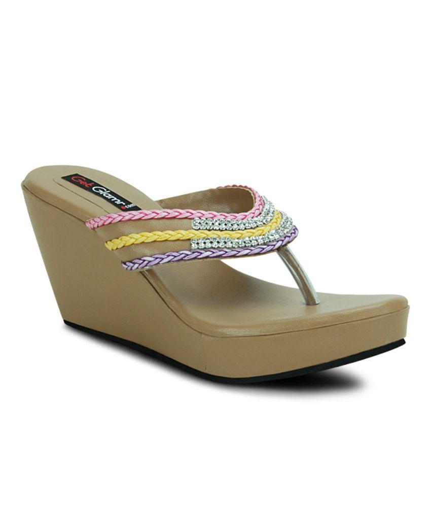 Get Glamr Beige Wedges Heeled Slip-on