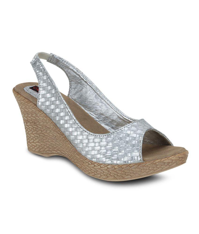 Get Glamr Silver Wedges Sandals