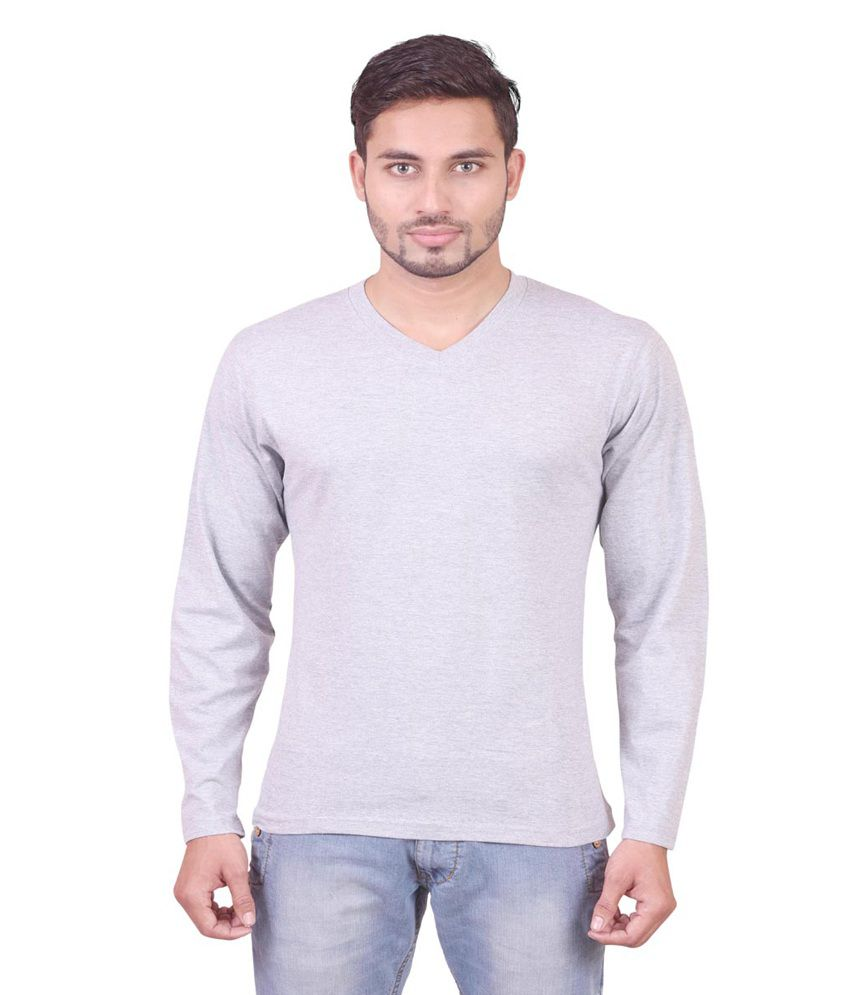 Indiemonk Gray Cotton V-neck Basics T Shirt