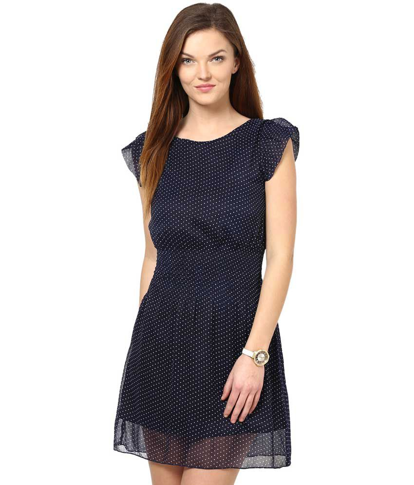 La Zoire Navy Poly Georgette Dresses