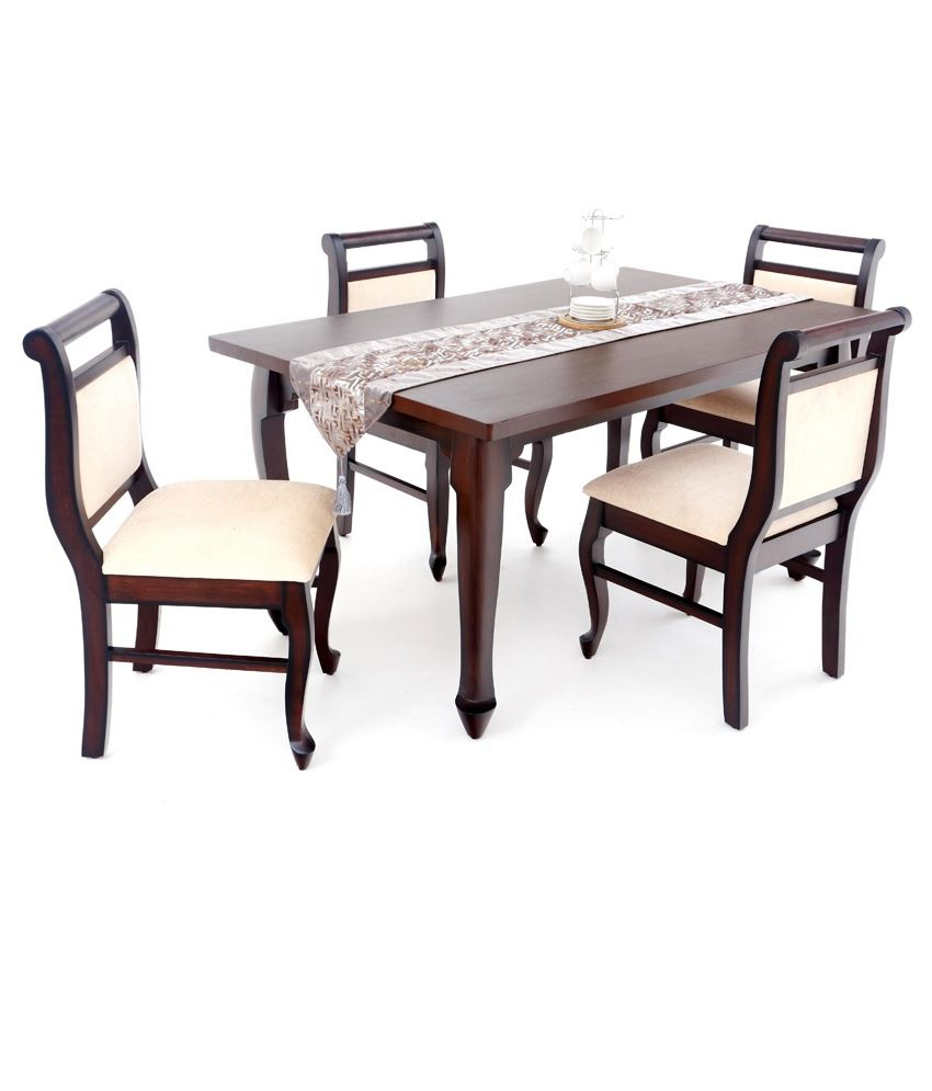 4 Seater Dining Table Set Teak Veneer Finish Buy 4 Seater