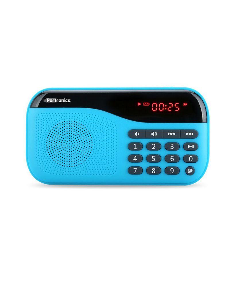 Portronics Plugs POR 142 2.5W Portable Speaker with FM , AUX, USB  amp; MicroSD card Support  Blue