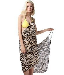 Fascinating Lingerie Sexy Backless Style Adorable Leopard Print Summer Wrap Skirt Beach Dress