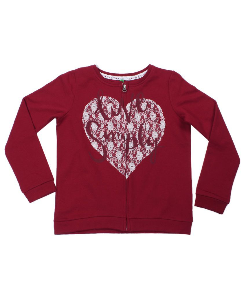 United Colors Of Benetton Maroon Sweatshirt