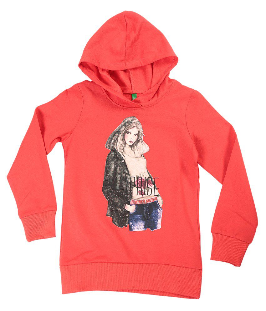 United Colors Of Benetton Red Hooded Sweatshirt