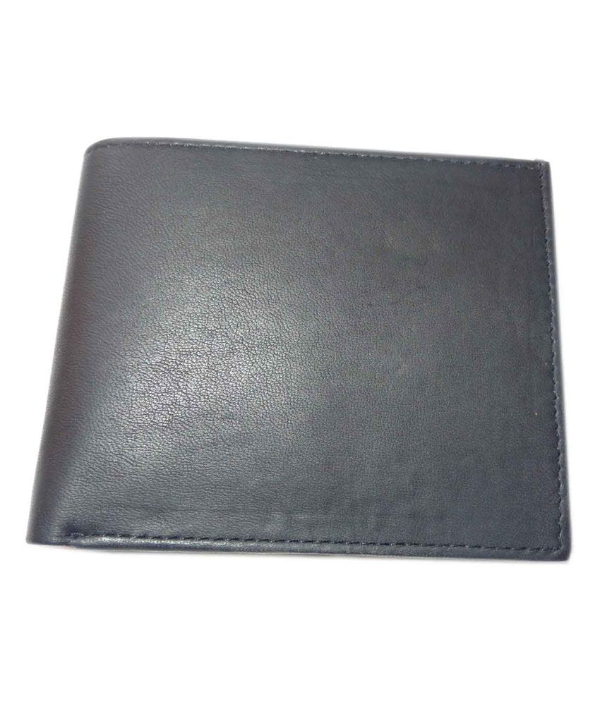 Alw Black Original Leather Wallet For Men With Card Slots