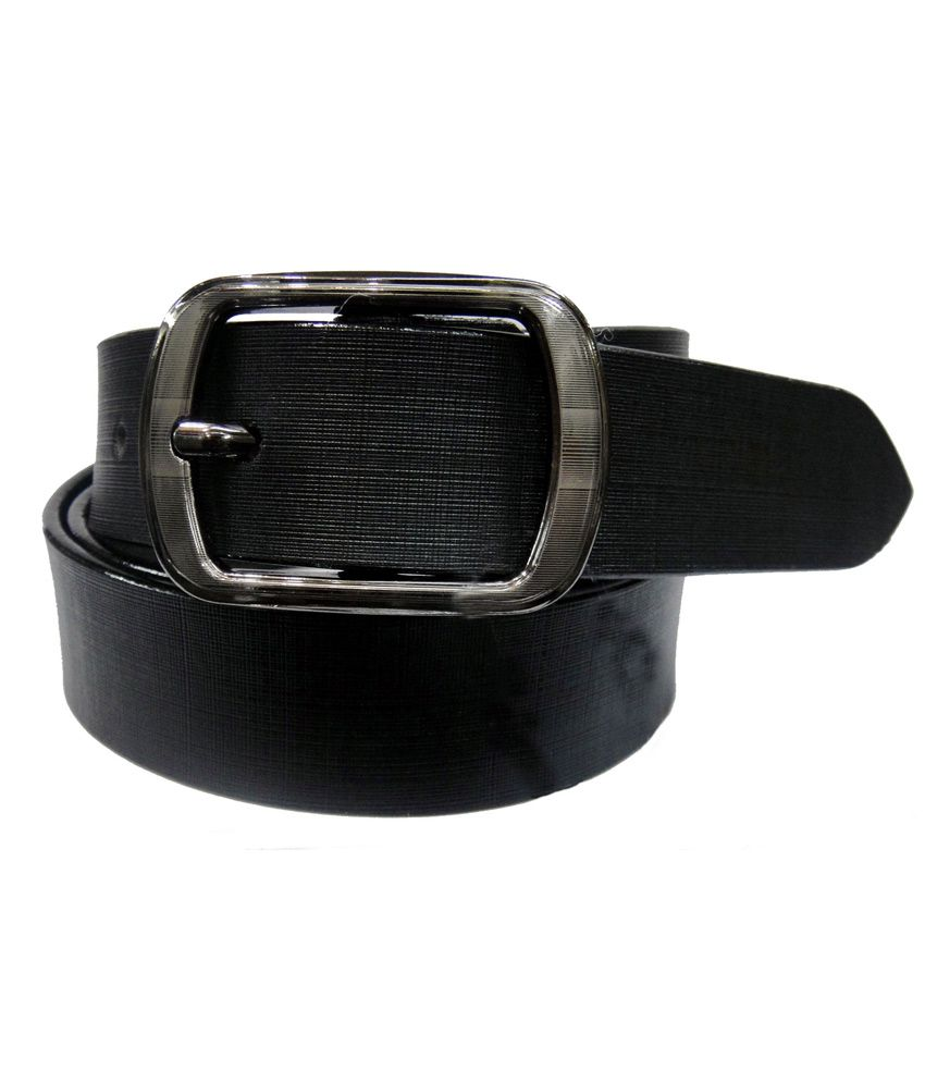 Hello Black Leather Single Pin Buckle Formal Belt For Men