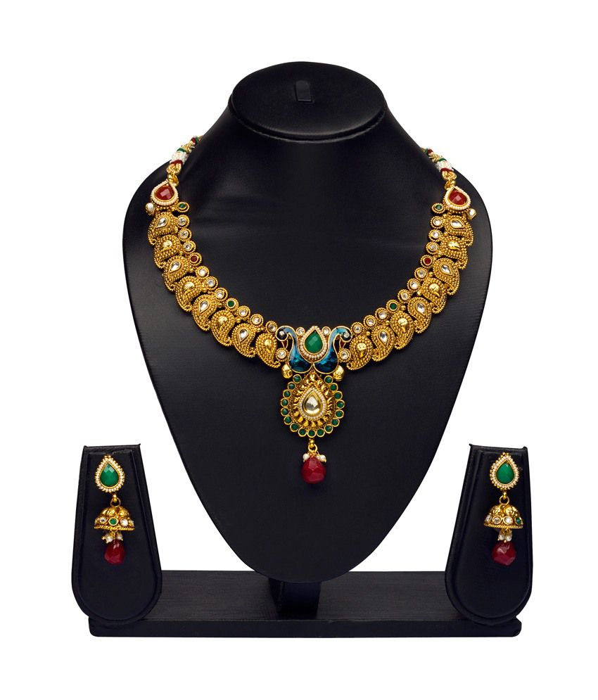 Vk Jewels Golden Brass And Copper Necklace Set With Earrings