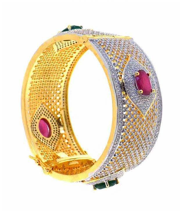 Alysa American Diamond Gold & Rhodium Plated Red & Green Stone Bracelet