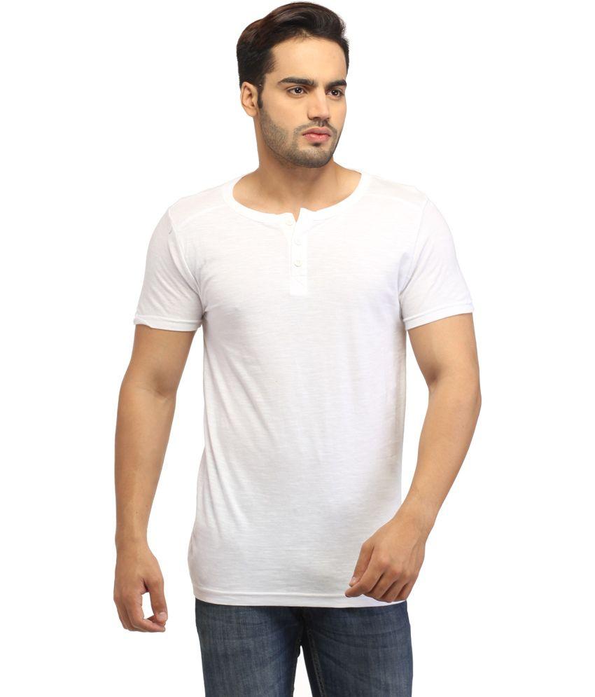 Fashion White Cotton Henley Half Sleeve T Shirt
