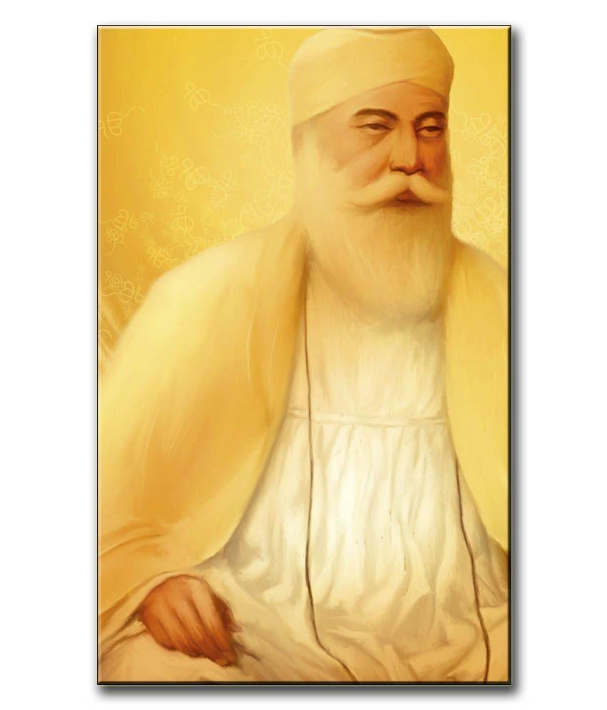 Anwesha's Gallery Wrapped Digitally Printed Canvas Wall Painting 12.5 X 20 Inch - Guru Nanak