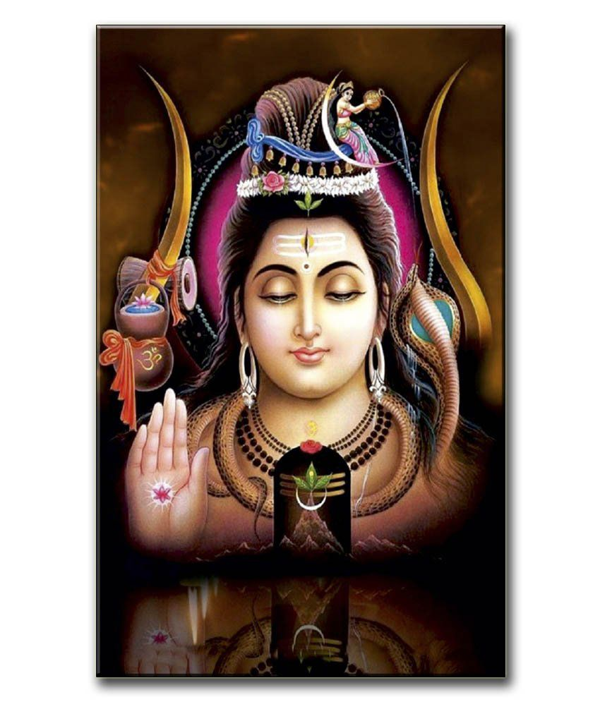 Anwesha's Gallery Wrapped Digitally Printed Canvas Wall Painting 12.5 X 20 Inch - Lord Shiva