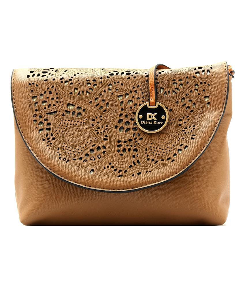 Diana Korr Brown Faux Leather Sling Bag - Buy Diana Korr Brown ...