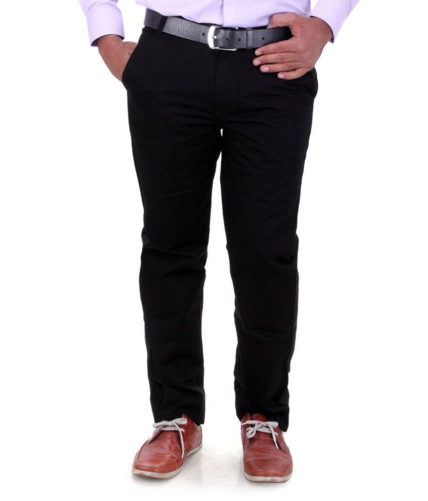 Dp Classics Black Cotton Blend Slim Fit Formal Trouser