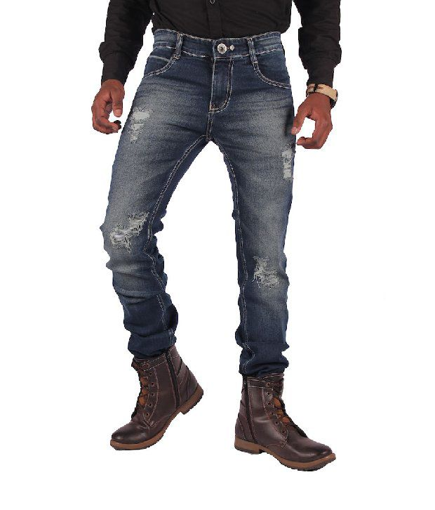 Gasconade Blue Torn Slim Fitted Jeans