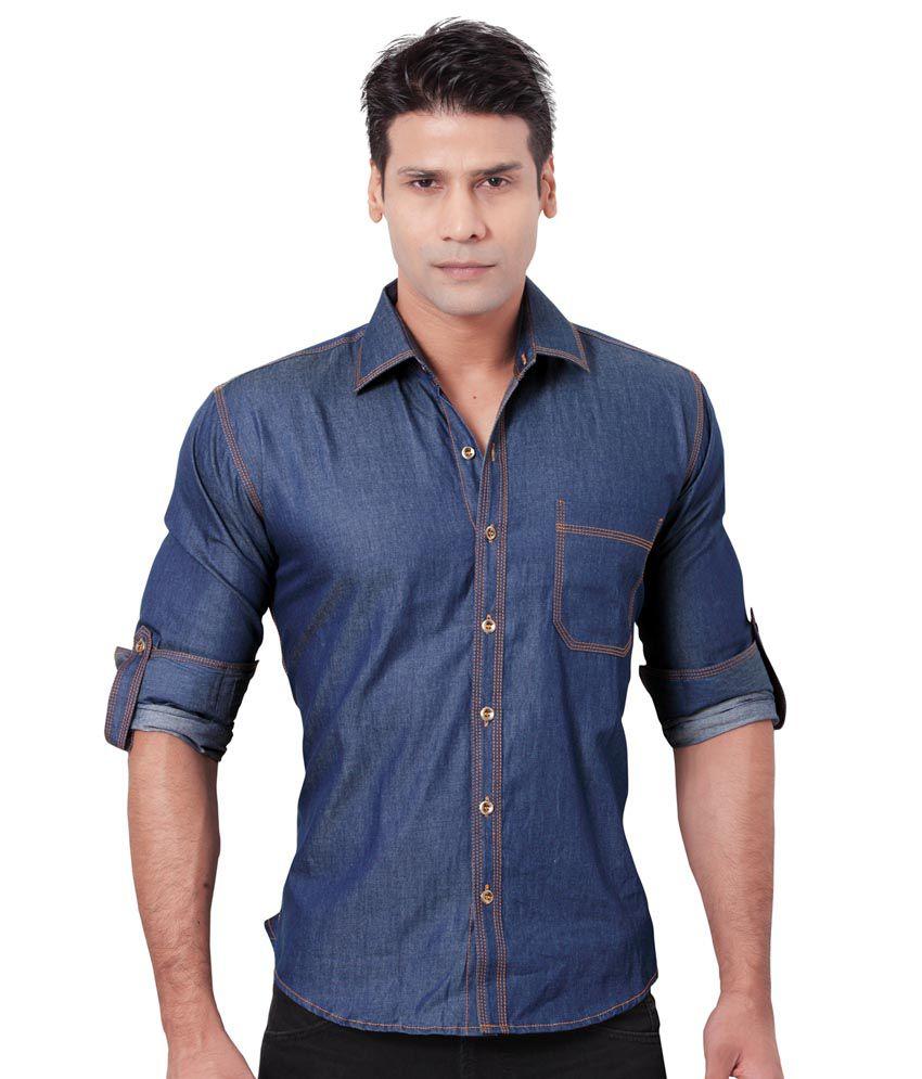 Griffin Griffin Blue Cotton Casuals Wear Denim Shirt