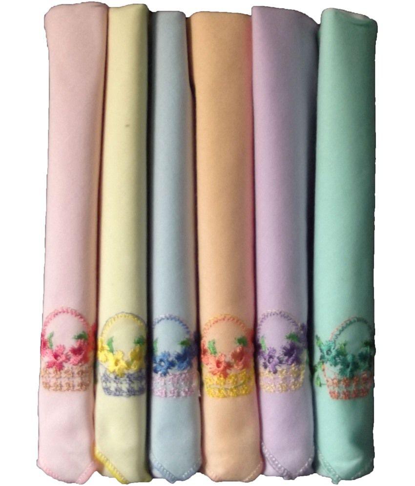 Milano Embroidery Cotton Ladies Hankies - 6 Pcs