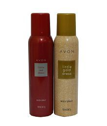 Avon Little Red And Gold Dress Body Spray Each 150 Ml (set Of 2)