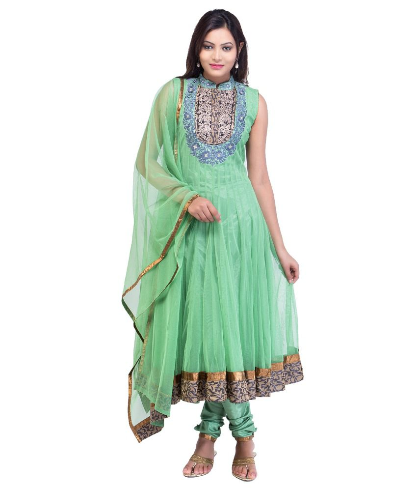 A Wonder Woman Green Brocade Net Anarkali Salwar Suit