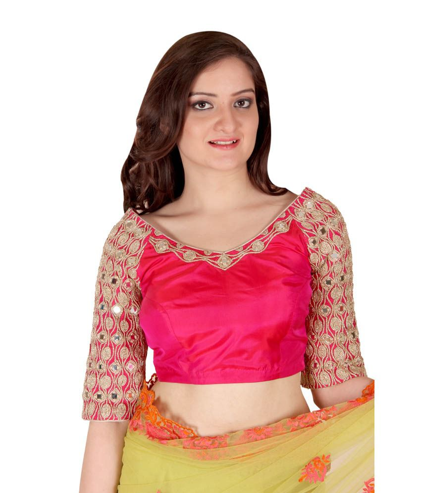566ba400fab737 Ethniche Pink Silk Mirror Work Blouse - Buy Ethniche Pink Silk Mirror Work  Blouse Online at Low Price - Snapdeal.com