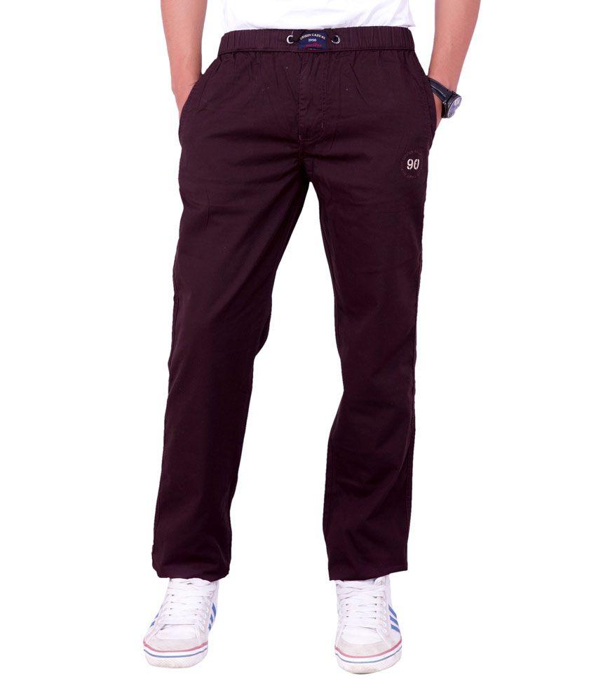 Origin Smart Maroon Casual Elastic Patterned Cotton Trouser For Men  -  9834_Maroon