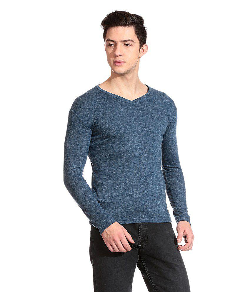 Urge Shirts Blue Cotton Blend Full Sleeves T-shirt