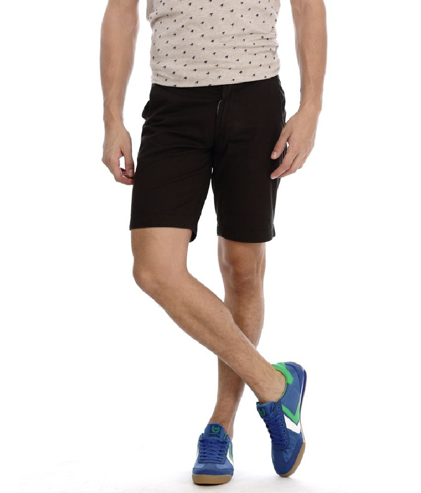 Basics Life Black Cotton Blend Solids Shorts
