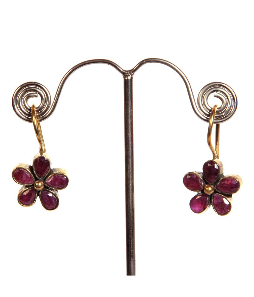 GRJ India Fashion Earrings - Red