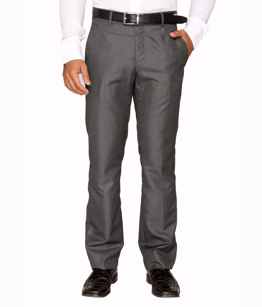 Springfield Charcoal Polyester Viscose Formal Trouser