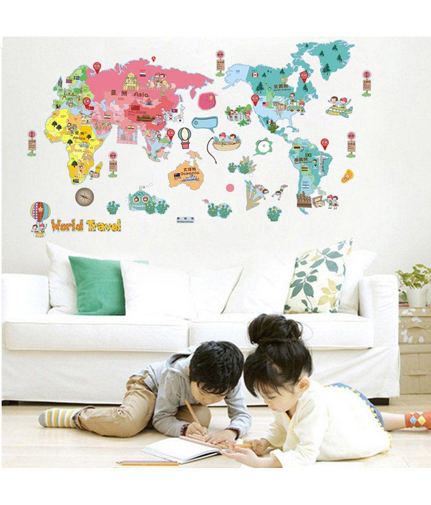 Uberlyfe the colourful and fun world map wall sticker for kids uberlyfe the colourful and fun world map wall sticker for kids decor size 150cm gumiabroncs Choice Image