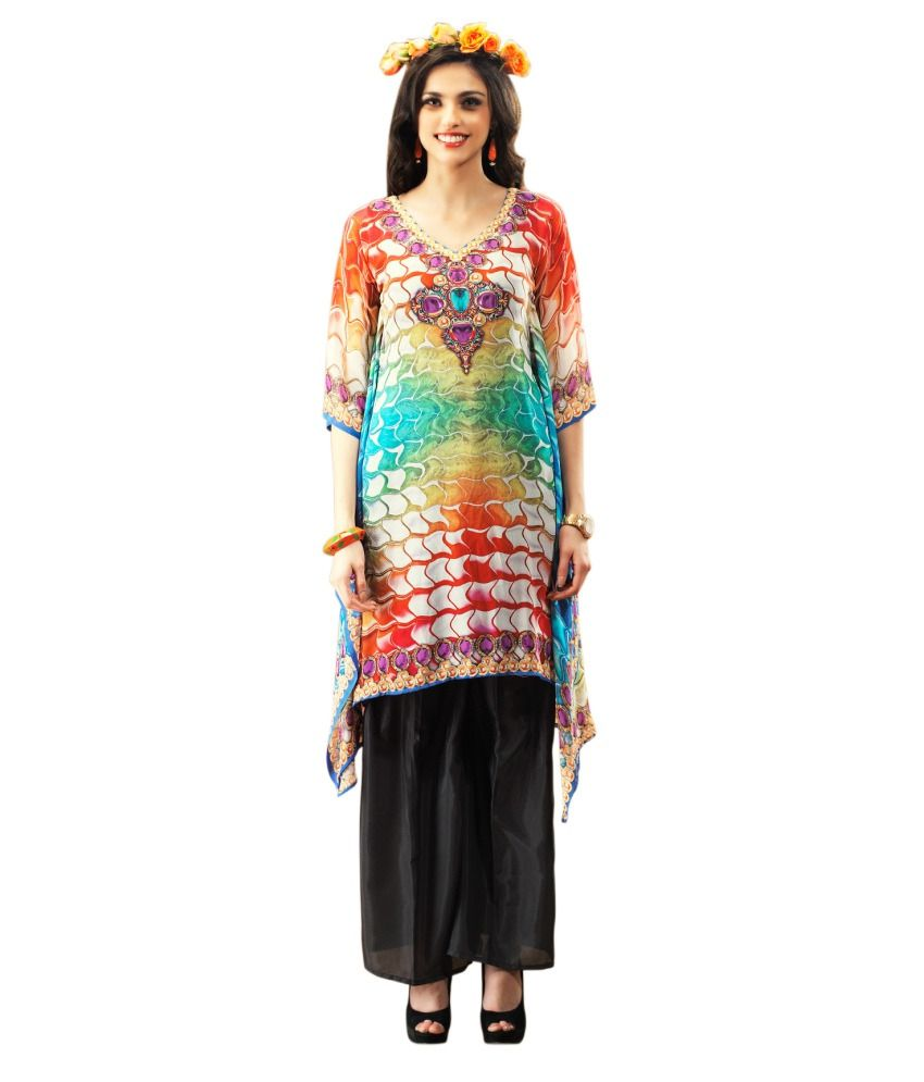 Triveni Trendy Multi Color Digital Printed Faux Georgette Kurti