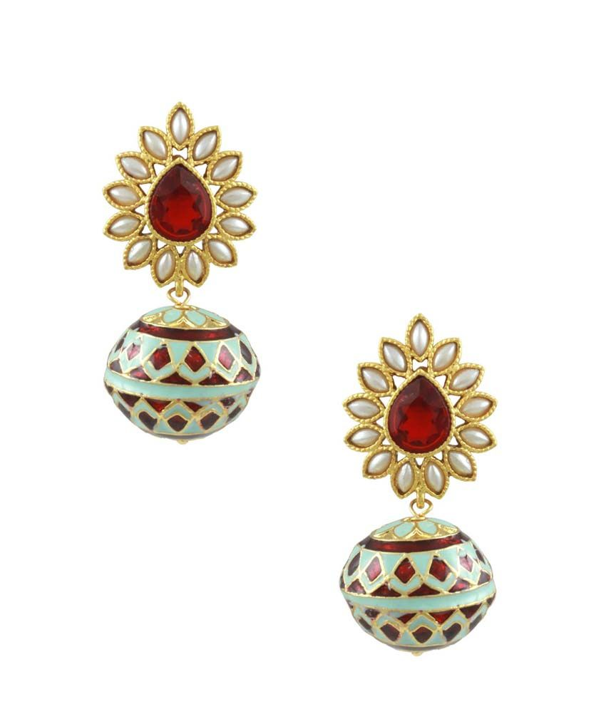 Orniza Emerald Enamelled Meena Ball Earrings