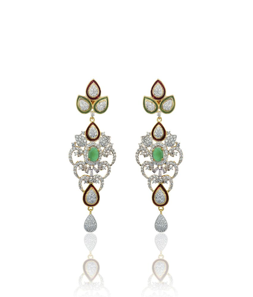 Alysa Green Aadarshini Rhodium Plated Cz And Emerald Pushback Earrings