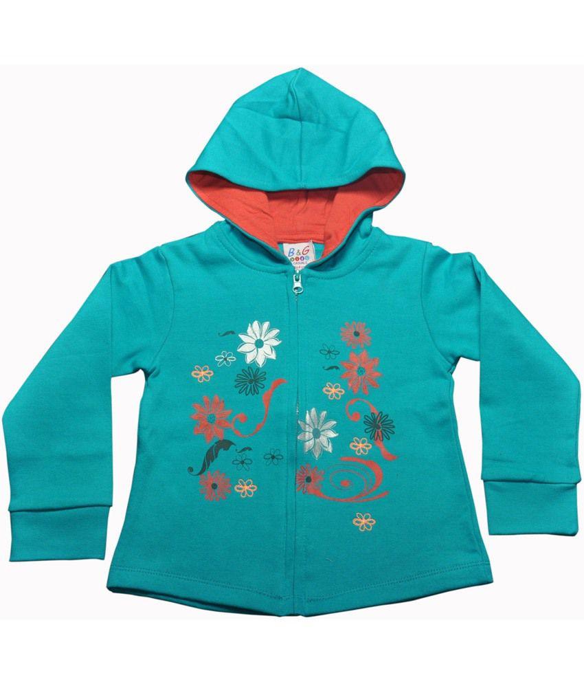 Bg Casual Green Cotton Flower Design Printed Girl's Full Sleeve Hoody Sweatshirt