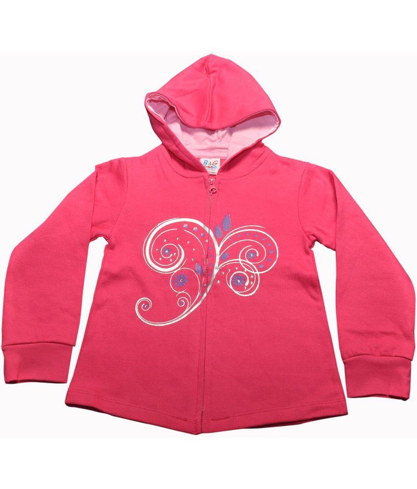 Bg Casual Pink Cotton Floral Design Printed Girl's Full Sleeve Hoody Sweatshirt